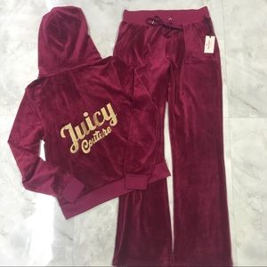 NWT Juicy Couture Velour Track Suit Red Size Small
